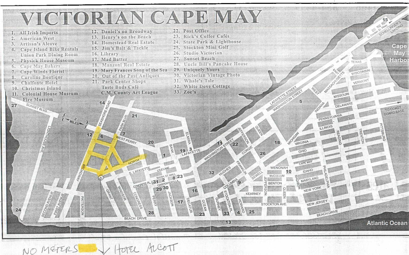 Eric and Aviva's Wedding Cape May Hotel Map on
